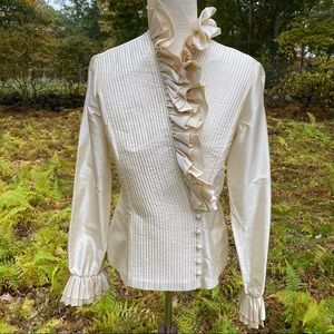 ⭐️ ELLEN TRACY TOP NEW BLOUSE CREAM QUILTED WRAP 4